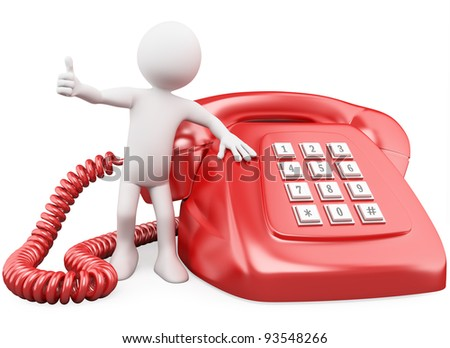 3D man with a huge red phone. Rendered at high resolution on a white background with diffuse shadows. - stock photo