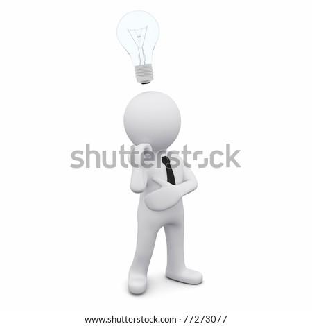 3D man with a light bulb as a symbol of creativity - stock photo