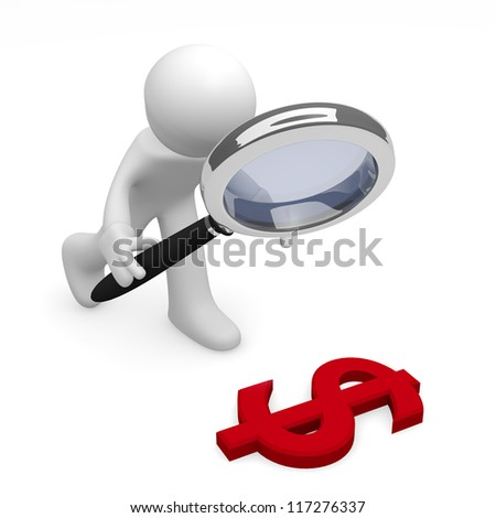 3d man with a magnifying glass and a red dollar icon