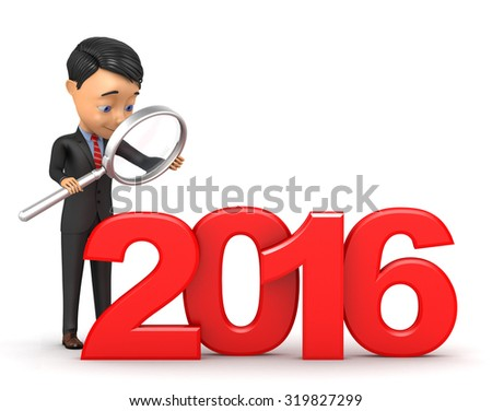3d man with a magnifying glass examines 2016 - stock photo
