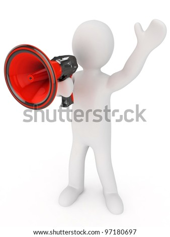 3d man with a megaphone in a hand. 3d image. Isolated white background. Blog announcement. - stock photo