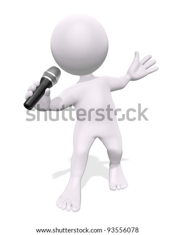 3D man with a microphone on a white background
