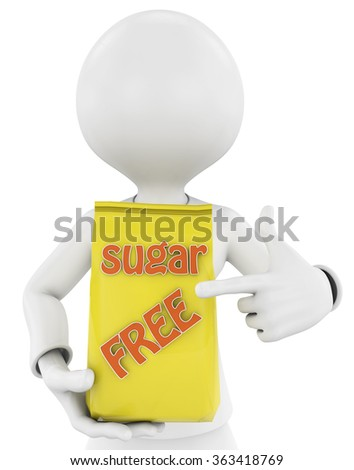 3d man with a product with the letters sugar free. concept