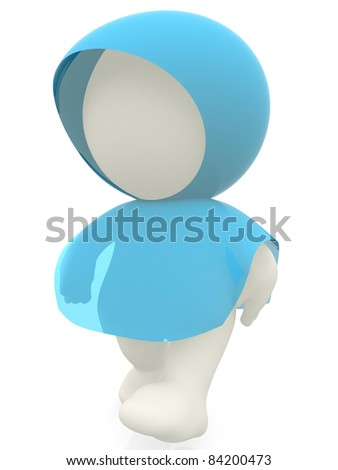 3D man with a rain poncho - isolated over a white background