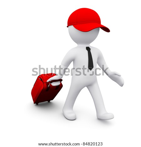 3D man with a suitcase going travelling - stock photo