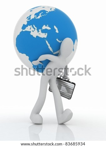 3D man with a suitcase is a globe on his back - stock photo