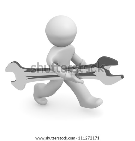 3d man with a wrench isolated on white - stock photo