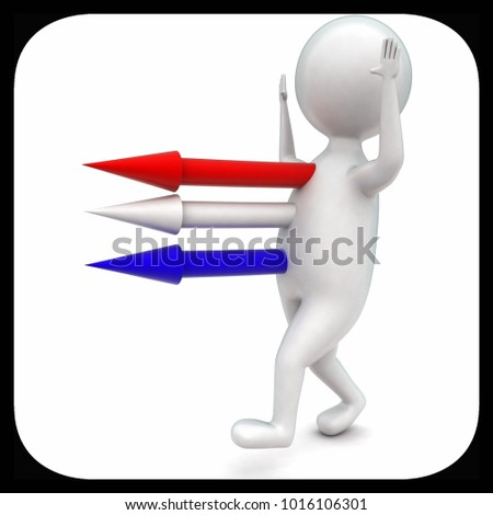 3d man with arrows coming out from body concept in white isolated background - 3d rendering ,  side angle view