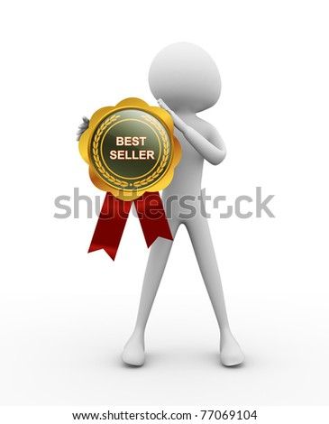 3d man with best seller medal - stock photo