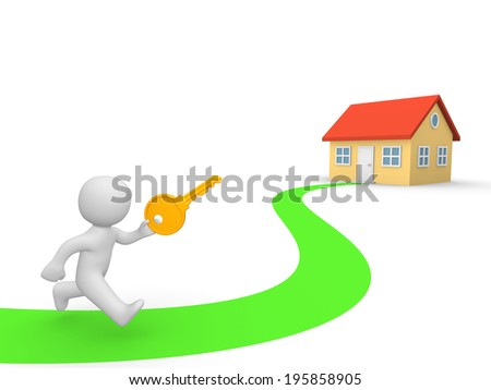 3d man with big key running toward house