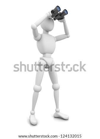 3d man with binocular on white background - stock photo