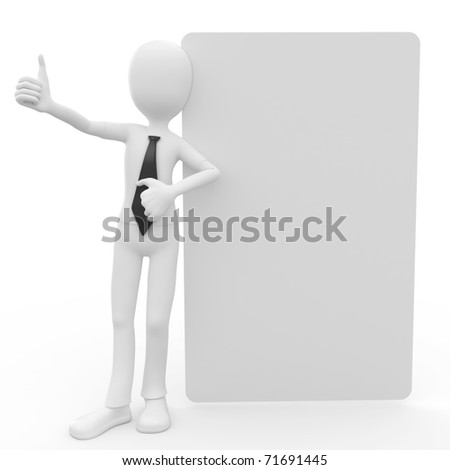 3d man with blank billboard isolated on white - stock photo
