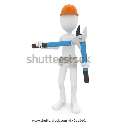 3d man with branch cutter isolated on white - stock photo