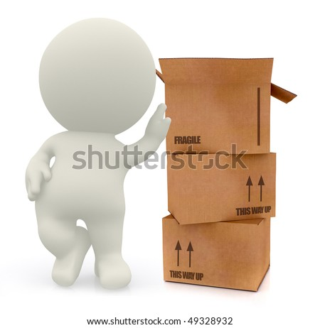 3D man with cardboard boxes in high detail isolated over a white background - stock photo