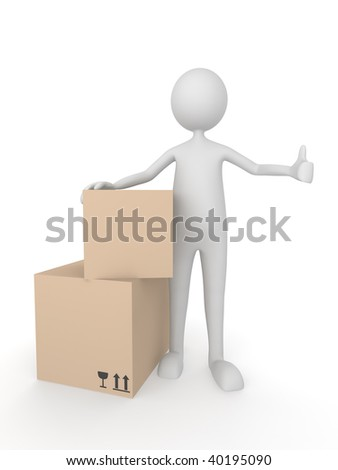 3D man with cardboard boxes showing thumbs up - stock photo