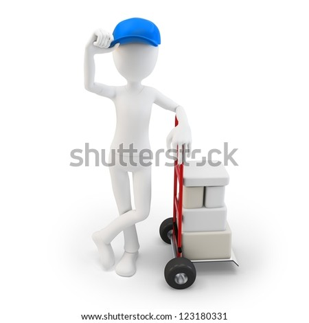 3d man with cart and boxes  on white background - stock photo