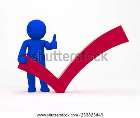 3d man with check mark - stock photo