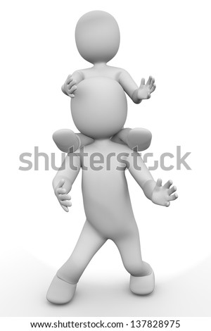 3d man with child on white isolated background - stock photo