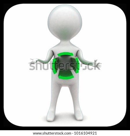 3d man with circular arrow projected from body concept in white isolated background - 3d rendering ,  front angle view