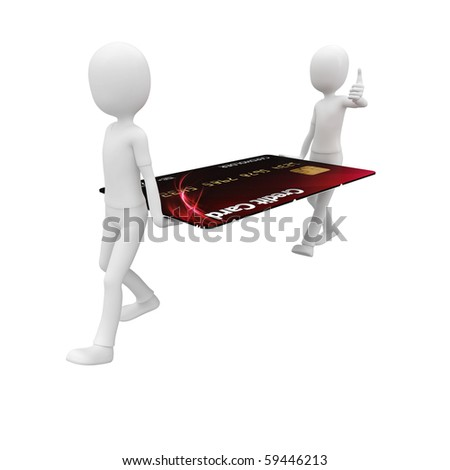 3d man with credit card red - stock photo