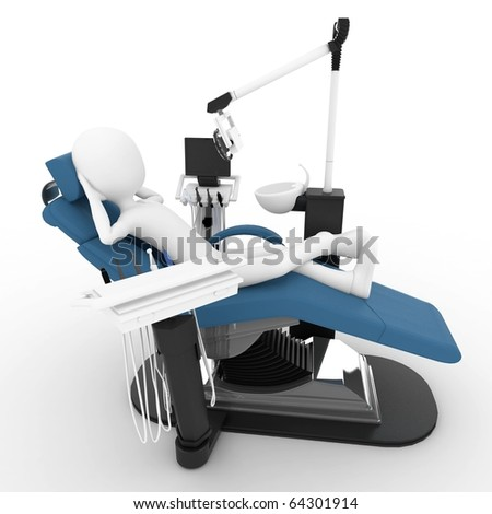 3d man with dentist chair isolated on white - stock photo