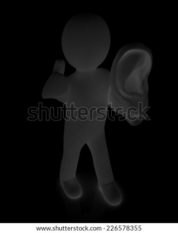 3d man with ear 3d render isolated on black background  - stock photo