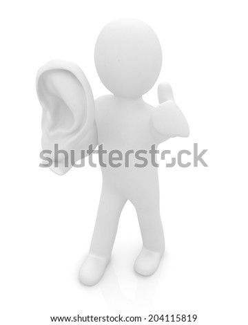 3d man with ear 3d render isolated on white background  - stock photo