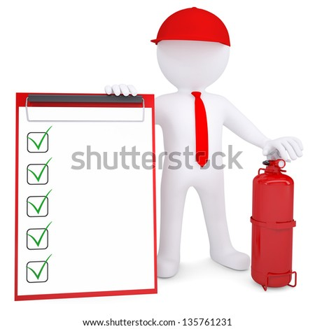 3d man with fire extinguisher and checklist - stock photo