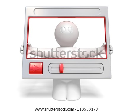 3d man with frame of video player on white background, isolated - stock photo