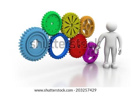 3d man with gear mechanism - stock photo