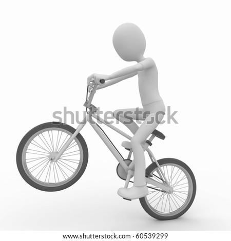 3d man with generic white stunt bike - stock photo