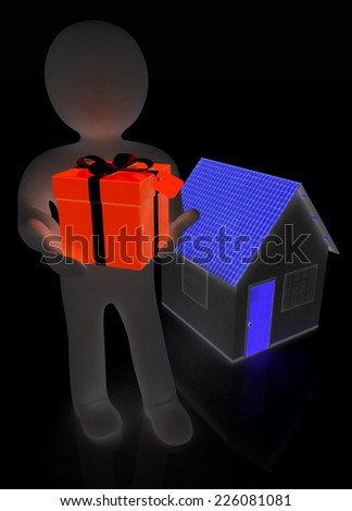 3d man with gift and house on a black background - stock photo