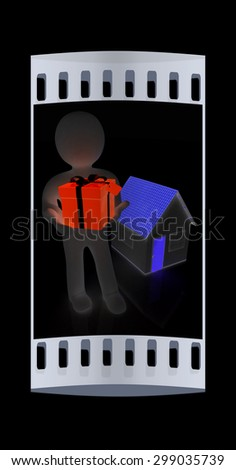 3d man with gift and house on a black background. The film strip - stock photo