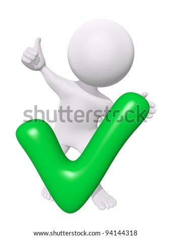 3d man with green check mark - stock photo