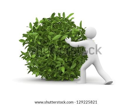 3d man with green grass ball - stock photo