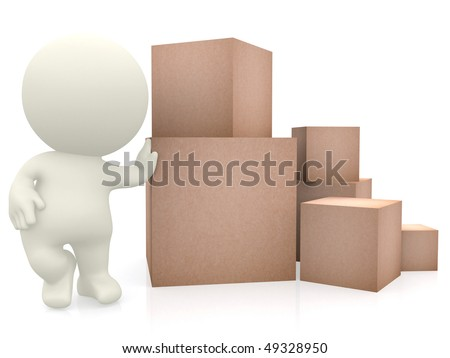 3D man with hand on top of cardboard boxes isolated over a white background - stock photo