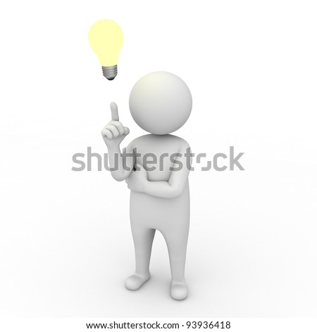 3d man with idea lightbulb on white background - stock photo
