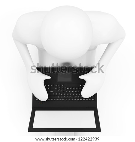 3d Man with Laptop isolated on white background (Top View) - stock photo