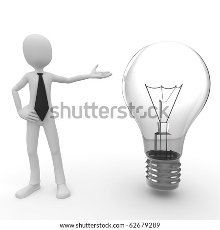 3d man with lightbulb isolated on white - stock photo