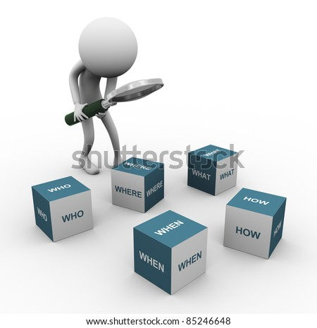 3d man with magnifying glass looking at question word cubes. - stock photo