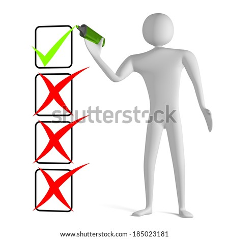 3d man with marker drawing green tick in checklist with cross marks isolated on white - stock photo