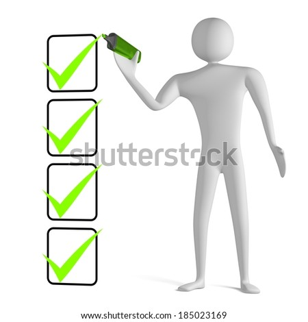 3d man with marker drawing green tick in filled checklist isolated on white - stock photo