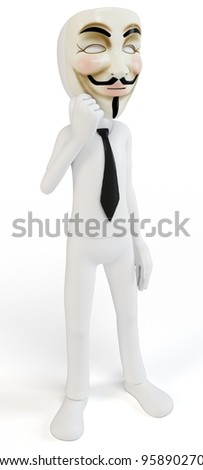 3d man with mask anonymous face on white background - stock photo