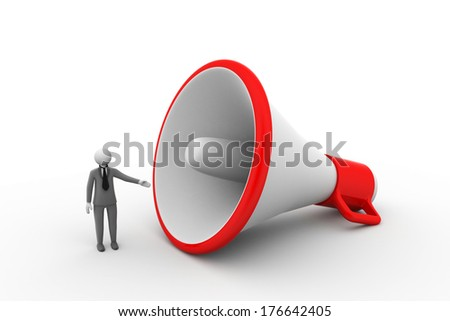 3d man with megaphone - stock photo