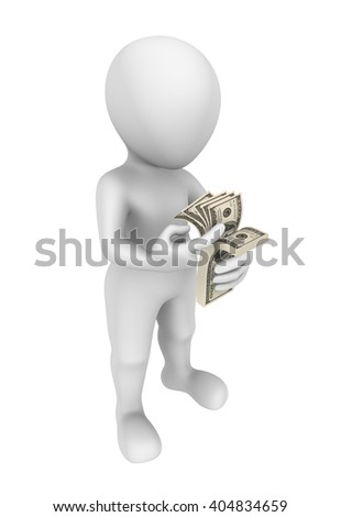 3d man with money. 3d illustration.