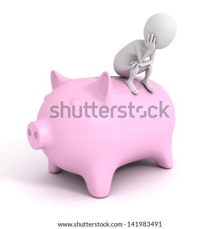 3D man with piggy money bank financial savings concept - stock photo