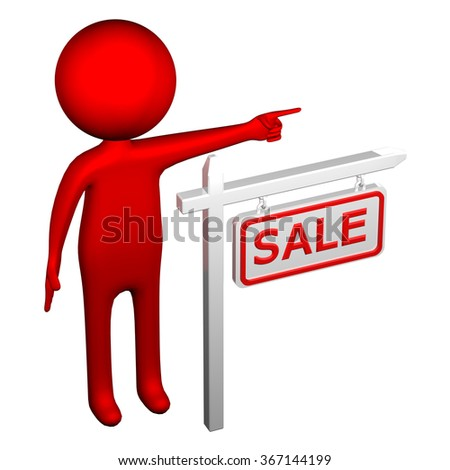 3d Man with pillar with sign sale, isolated on white background.