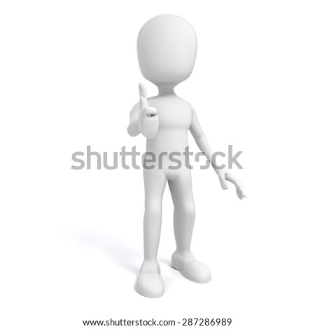 3d man with positive attitude on white background