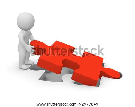 3d man with puzzle piece - stock photo