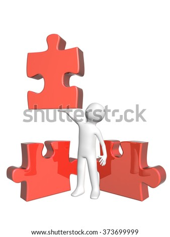 3d man with puzzles. Isolated on white background